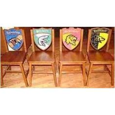 Harry Potter Hogwarts School Wooden 4 Chair Set: Gryffindor, Hufflepuff, Ravenclaw and Slytherin Nerd Love, Harry Potter Birthday, Harry Potter Hogwarts, Ravenclaw, Chair, School, Image Search, Deco, Amazon