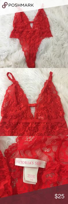 Victoria's Secret Red Lace Lingerie ❤️🔥Teddy This Sexy one piece is in excellent condition. 💕🔥💄 Victoria's Secret Intimates & Sleepwear Chemises & Slips