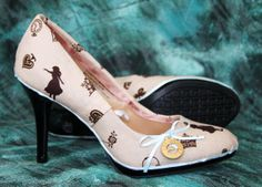 These delightful pumps feature Alice in Wonderland-themed silhouettes with gold details. They also have a gold Alice in Wonderland charm on a blue Alice In Wonderland Accessories, Alice In Wonderland Shoes, Stiletto Heels, High Heels, Sock Shoes, Kitten Heels, Fashion Photography, Slip On, Pumps