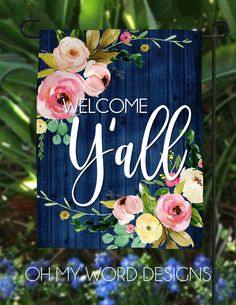 Personalized Garden Flag-Welcome Flag-Welcome Friends-Cottage Chic-Farmhouse Decor-Yard Decor-Outdoor Decor-Garden Flag Garden Flag-Personalized Flag-Welcome Flag-Welcome Always wanted to learn how to knit, although unclear where do you sta. Garden Flag Stand, Garden Flags, Cottage Chic, Pallet Art, Porch Signs, Door Signs, House Flags, Wooden Signs, Painted Signs