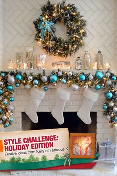 A beautiful Christmas mantel in turquoise, white and silver