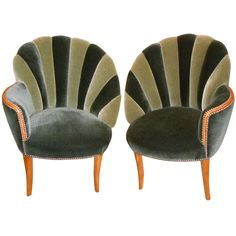 Glamourous Hollywood mohair side chairs.