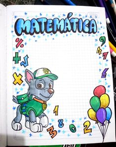 Carátulas, marcos, bordes. Portadas para niños cuadernos matemáticas _ paw patrol Bullet Journal Cover Ideas, Bullet Journal Lettering Ideas, Bullet Journal Writing, Page Borders Design, Border Design, File Decoration Ideas, Paper Art Design, Hand Lettering Art, Cool Paper Crafts