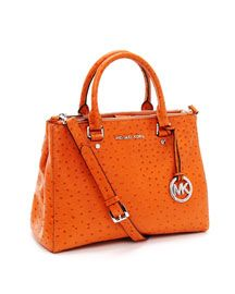 Medium Bedford Ostrich Embossed Dressy Tote, in spring's hot color, tangerine. and not real ostrich, only ostrich embossed. :) Michael Kors