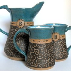 Personalized Wedding/Anniversary Set, Intricately Carved Pottery by Mud Pie Studio NC.Helped Paul make similar pitcher with NH class--like the glazing! Pottery Mugs, Ceramic Pottery, Pottery Art, Ceramic Cups, Ceramic Art, Pottery Designs, Pottery Ideas, Clay Mugs, Cafetiere