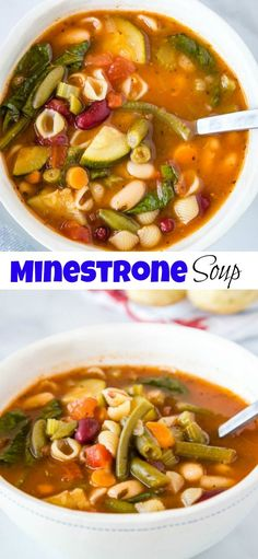 Olive Garden Minestrone Soup - Make the classic minestrone soup at home! This soup is made all in one pan, is full of all sorts of veggies and even pasta, all in a delicious rich tomato based broth. Chili Recipes, Soup Recipes, Dinner Recipes, Cooking Recipes, Healthy Recipes, Dinner Ideas, Restaurant Recipes, Copycat Recipes, What's Cooking