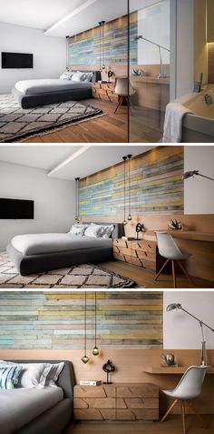 In this modern bedroom, an accent wall has been created using reclaimed timber cladding, while a built-in wood desk is combined with the headboard. An en-suite bathroom sits off to the side and is enclosed within glass frame. Built In Bathroom Storage, Desk Storage, Storage Ideas, Modern Wood Desk, Bed Design, House Design, Accent Wall Bedroom, Accent Walls, Three Bedroom House