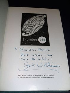 Signed limited of Darker than you think by Jack Williamson Fantasy Press Limited