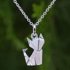 Unique Sterling Silver Origami Motif Fox Pendant Necklace - Origami Fox | NOVICA