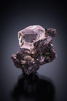 Beryl var.Morganite on lepidolite - Pederneira Claim, Sao Jose da Safira, Minas Gerais, Brazil Size: 2.2 x 2.1 x 1.7 cm