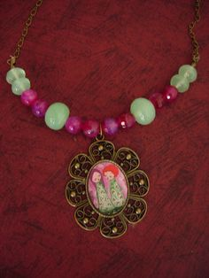 Items similar to Lovely Days- Mixed media art illustrated necklace with semivalued beads on Etsy Jewelry Illustration, Mixed Media Art, Altered Art, The Dreamers, Artsy, Beads, My Style, Day, Pink