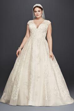 Tulle Oleg Cassini Plus Size Ball Gown Wedding Dress Wedding Dress - Ivory, 24W