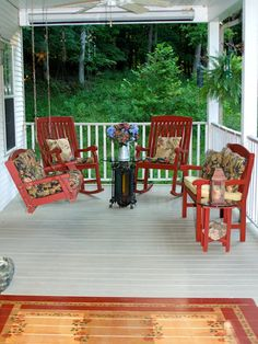 Garden design and landscaping -- and hardscaping -- don't have to start at ground level. From primitive country to zany color, these porches greet the world with a sense of style.
