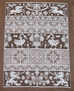 Click to view full size image ============== BAGATELLE This is my version of LDS's BAGATELLE - I used Wichelt 32ct. Coffeebean linen with DMC #B5200 white (33 skeins) and 3371 black brown (4 skeins) floss. It took 1 yr. of only stitching on this piece to finish it.
