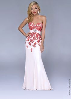 Nina Canacci 4071 -Red/Nude Strapless Beaded Prom Dresses Online #thepromdresses