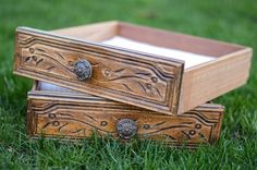 Image of Re-purposed Wood Drawer with etching