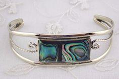 Alpaca Mexican Silver Cuff Bracelet Abalone Shell  Rectangle Fashion Jewelry NEW…