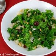 For the Love of Cooking » Sautéed Garlicky Kale with Onions, Pine Nuts, and Craisins...MINUS the craisins