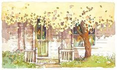 Sweet Fall / A Nevada City porch/ watercolor by Jerianne Van Dijk