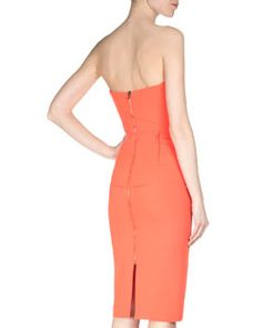 W05XE Roland Mouret Cicada Strapless Wool Crepe Dress, Orange
