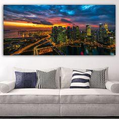 Skylines No 4 πανοραμικός πίνακας σε καμβά Skyline, Throw Pillows, Bed, Home, Cushions, House, Decorative Pillows, Decor Pillows, Homes