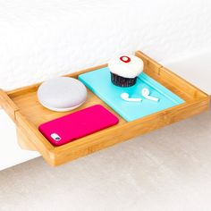 BedShelfie - Modern Bamboo Bedside Shelf / a Space-Saving, Floating Nightstand Table (in Natural Bamboo)