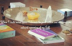 When I create sacred space I discover the peace within and it becomes an outward expression of my Self    #gutsygirlart #spectacularselfcare #selflove #selfcare #selfmastery #selfcareseptember #spiritjunkie #affirmation #sacredspace