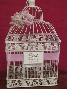 #birdcageweddingcardholder #lavenderweddings http://theweddingdecorplace.theweddingmile.com/items/details/88068-lavender-birdcage-card-box-with-lavender-accents-wedding-card-holder