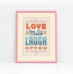 Love & Laugh Cross Stitch Pattern Digital Format  by Stitchrovia, £4.25