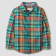 Toddler Boys' Button Down Shirt Cat & Jack- Multi Plaid 3T, Toddler Boy's $9.99 by Target