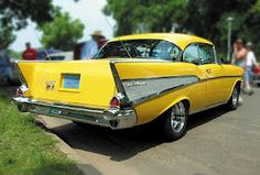 Yellow classic car (chevy)
