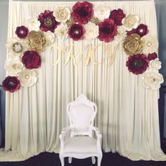 Paper flower backdrop burgundy and gold theme, engagement party