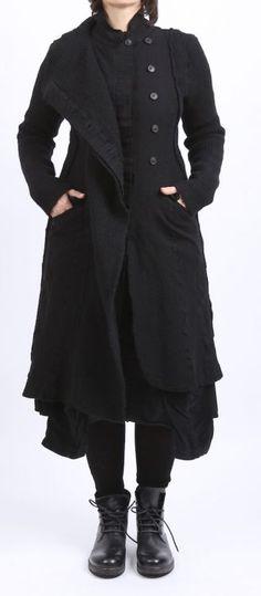 rundholz - Mantel mit Strick black - Winter 2016 - stilecht - mode für frauen mit format...