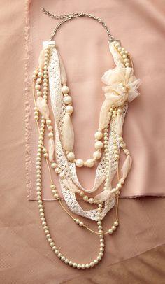 Flower Applique And Pearl Multi Strand Necklace - Unique Vintage - Prom dresses, retro dresses, retro swimsuits.