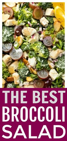 Broccoli Grape Salad Recipe - No Spoon Necessary Best Salad Recipes, Veggie Recipes, Healthy Recipes, Amazing Recipes, Drink Recipes, Broccoli Grape Salad, Fresh Broccoli, Vegetable Casserole, Breakfast Recipes