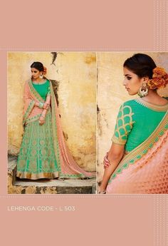 This is an Indian bollywood Pakistani wedding and party wear designer lehenga choli. lehenga crafted in pure silk and jacquard with designer blouse and dupatta. clear neat embroidery done to achieve pure designer look. Party Wear Lehenga, Bridal Lehenga Choli, Lehenga Saree, Sarees, Indian Bollywood, Green Silk, Wedding Wear, Indian Fashion, Women's Fashion