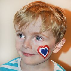 Dutch heart flag face paint for the #worldcup #Holland #Snazaroo #facepaint