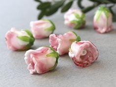 Handmade Flower Lampwork Beads  Pink Rose Lampwork Glass