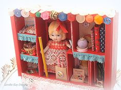 Sophie's Sewing Shop Mixed Media Art Shadow Box Decoration Doll Art Configuration Box Sewer Gift