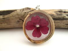 Small Red Flower & Wood Pendant by OonaCreation on Etsy