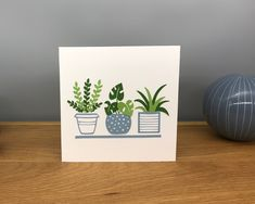 Handmade Blank Greeting Card ~ Pot Plants ~ Nature Themed Greeting Card by StickandPasteCards on Etsy Pot Plants, Green Plants, Blank Cards, Me On A Map, I Card, Greeting Cards, Nature, Gifts, Handmade