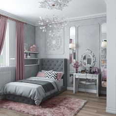Teen Girl Bedrooms fabulous and dreamy living space - From modern to warm teen girl room decor. Saved at teen girl bedrooms themes shabby chic , image pin idea inspired on 20190206 Girls Bedroom Curtains, Home Bedroom, Bedroom Decor, Girl Bedrooms, Decor Room, Grey Curtains, Bedroom Furniture, Grey Furniture, Design Bedroom
