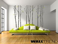 W 01010 Nyírfaerdő madarakkal faltetoválás-falmatrica - WALLtrend - faltetoválás, falmatrica, faldekoráció