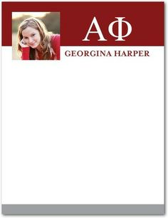Letters Forever: Alpha Phi - Greek Thank You Cards - Alpha Phi in Spanish Red. #graduation