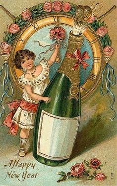 Vintage New Year Postcard, ca. Vintage Happy New Year, Happy New Year 2014, Happy New Year Images, Happy New Year Cards, New Year Greetings, Vintage Christmas Cards, Vintage Holiday, Vintage Cards, Vintage Postcards