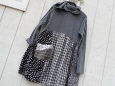 Small / Medium ,  Upcycled Clothing ,   Fall Patchwork Hoodie Tunic / Dress ,  Shirt Dress ,  Eco Dress,  Boho Shabby  Romantic