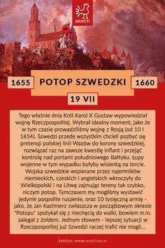Najazd Szwedów na Polskę w połowie 17 wieku.  #potop #szwedzki #invicti #opowiadamyhistorie Baby Scrapbook, Study Motivation, Poland, Knowledge, Humor, Education, School, Poster, Geography