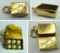 "14k Gold ""Strictly Fresh"" Miniature Egg Carton Opens to Eggs Vintage Charm | eBay"
