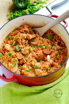 This chicken and sausage jambalaya is a delicious one pot meal that is perfect for Mardi Gras, or any time of year. Authentic cajun flavor!