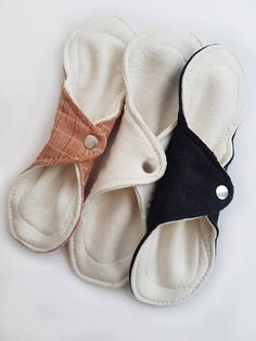 """SET OF 3 - 9"""" Organic Cotton and Bamboo Reusable Sanitary Cloth Menstrual Pads Pantyliners // zero waste // plastic free // sustainable eco"""